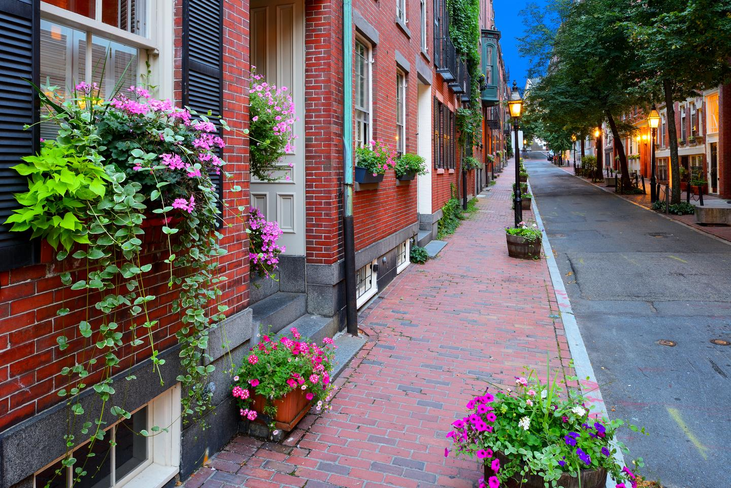 Narrow street in Beacon Hill Boston