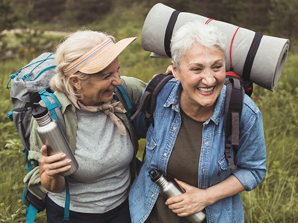 two women hiking